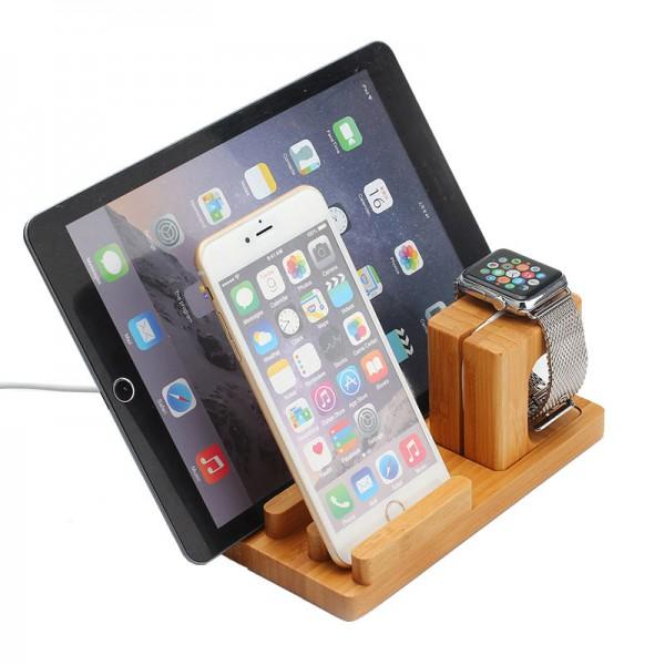docking station ladestation bambus tisch st nder f r ipad iwatch iphone 5 6 6s ebay. Black Bedroom Furniture Sets. Home Design Ideas