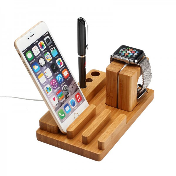 docking station ladestation bambus holz tisch st nder f r. Black Bedroom Furniture Sets. Home Design Ideas
