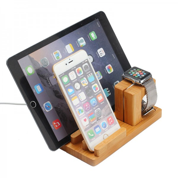 docking station ladestation bambus tisch st nder f r ipad. Black Bedroom Furniture Sets. Home Design Ideas